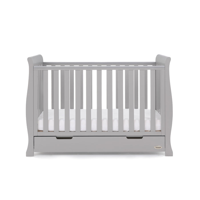 Obaby Stamford Classic Sleigh Cot Bed - Warm Grey - October Delivery