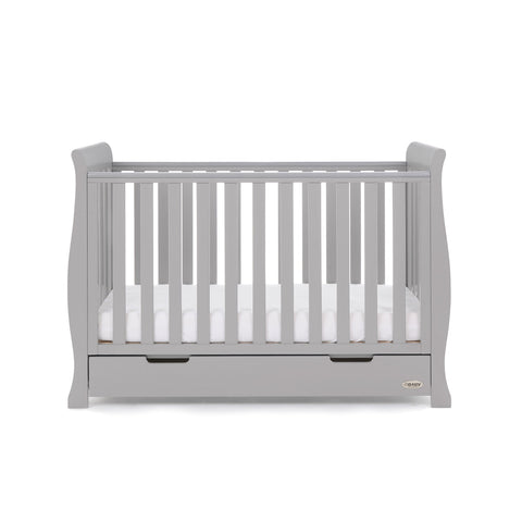 Obaby Stamford Classic Sleigh Cot Bed - Warm Grey - FREE POCKET SPRUNG MATTRESS WORTH £90