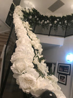 LUX White Large Roses, Peonies, Orchids and Leafy Greens Floral Runner - Crystal Doll Bridal