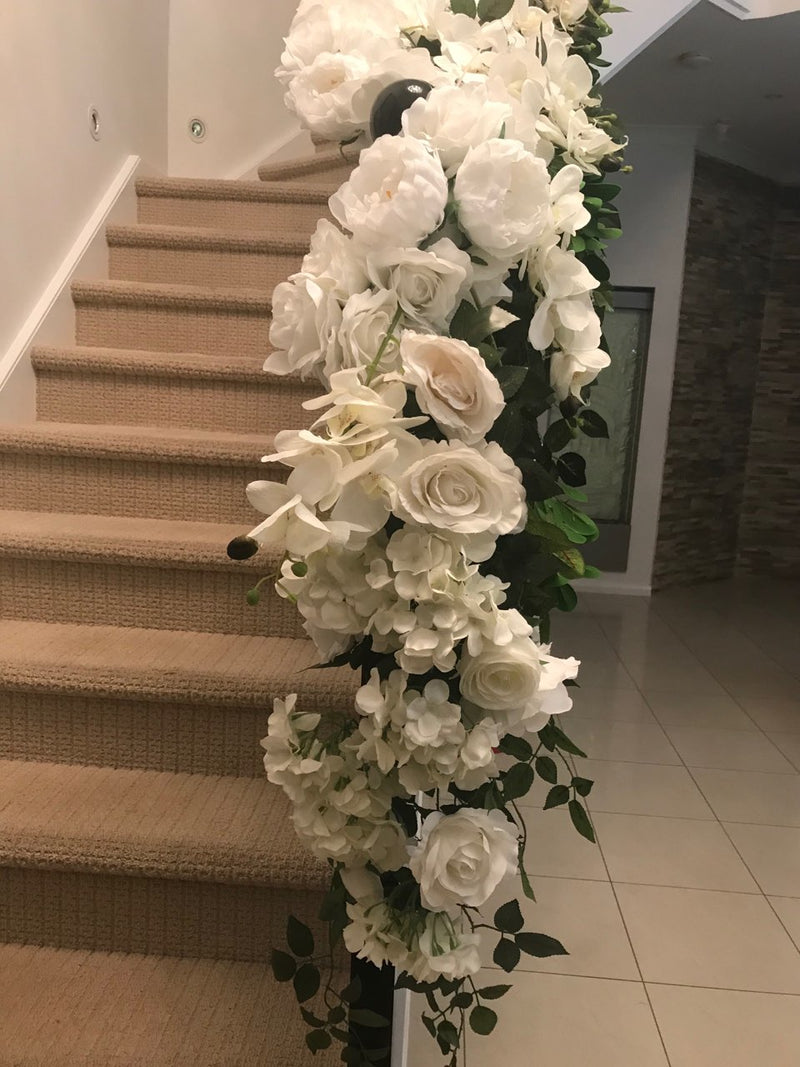 LUX White Large Roses, Peonies, Orchids and Leafy Greens Floral Runner