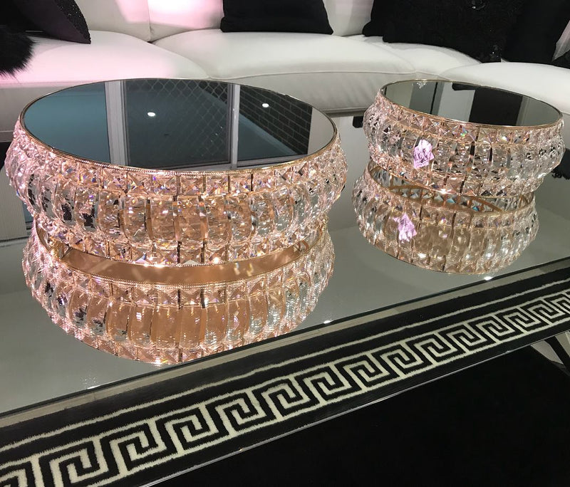 LUX Statement Gold & Crystal Mirror Cake Stands - Crystal Doll Bridal
