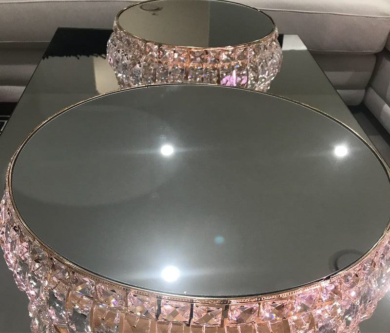 LUX Statement Gold & Crystal Mirror Cake Stands