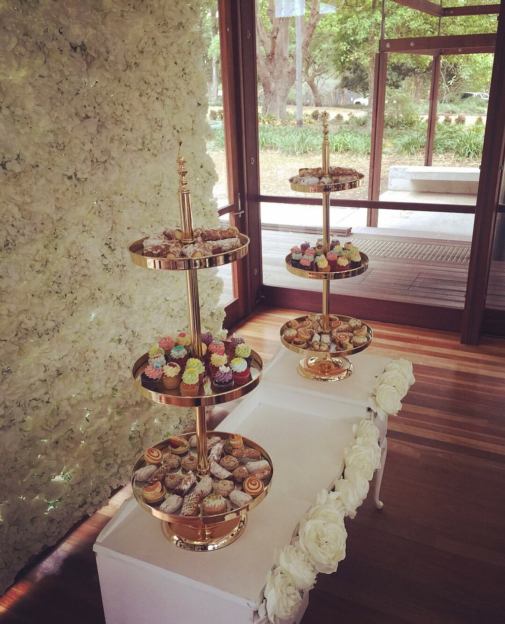 Gold Cake Tray Stand - 2 & 3 Tier Cake Stands Hire