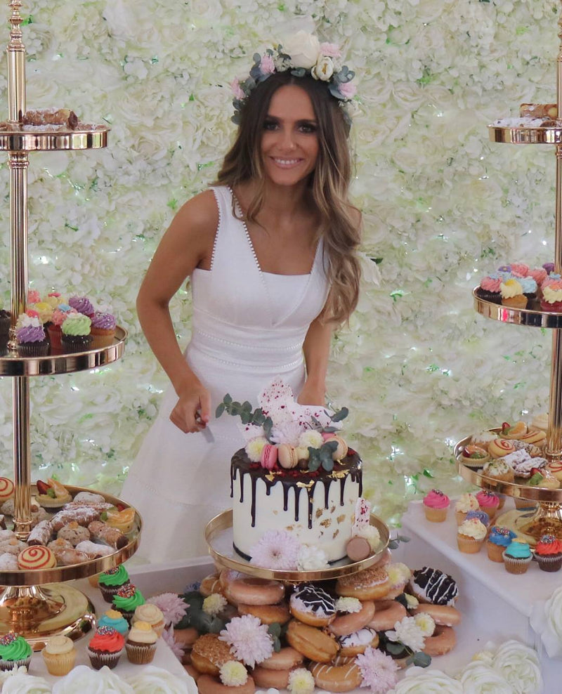 Gold Cake Tray Stand - 2 & 3 Tier Cake Stands Hire - Crystal Doll Bridal