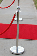 Stainless Steel Bollard with Red Velvet Rope - Crystal Doll Bridal