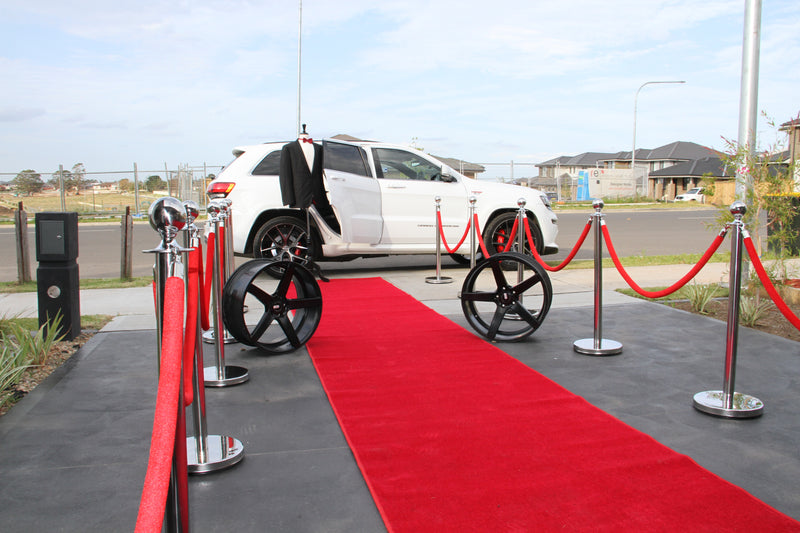 Stainless Steel Bollard with Red Velvet Rope