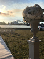 Over sized Flower Arrangement with Large Urn & Pedestal Hire - Crystal Doll Bridal