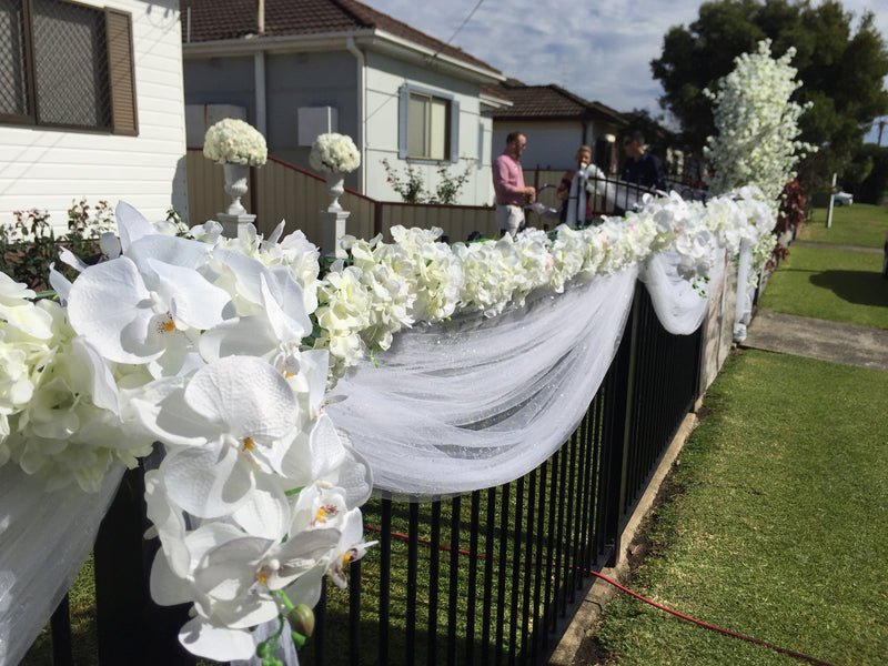 White Tulle & Floral External Home Decorations
