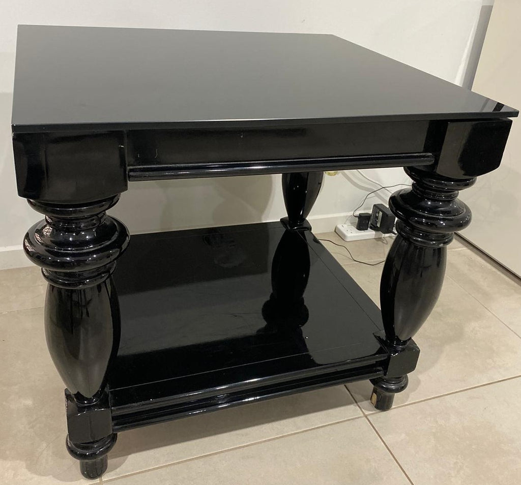 Coco Square Table with Black Glass Top