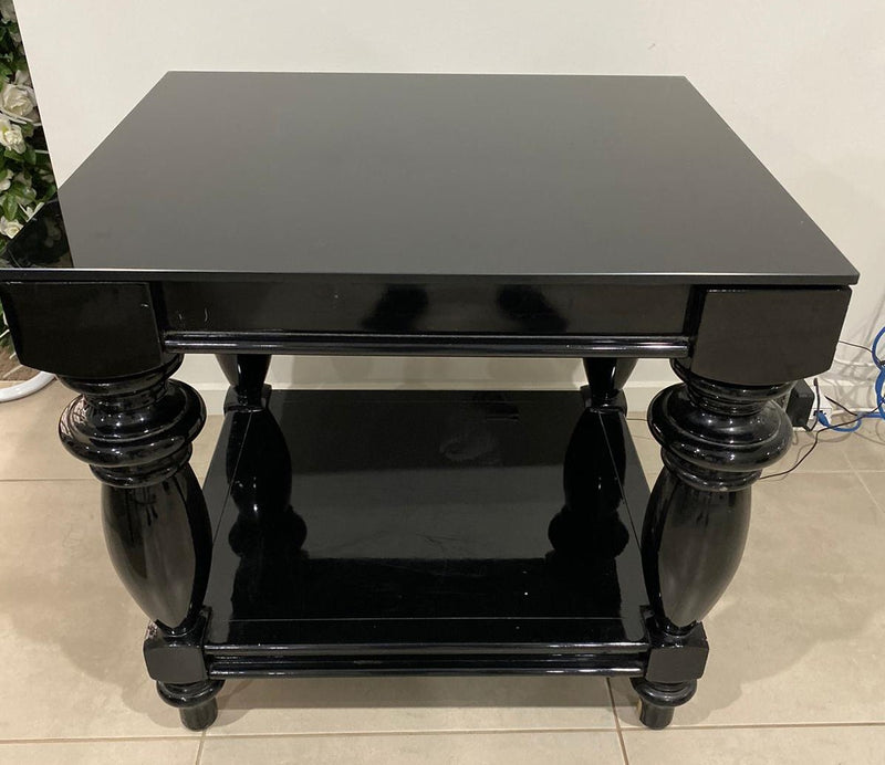 Coco Square Table with Black Glass Top - Crystal Doll Bridal