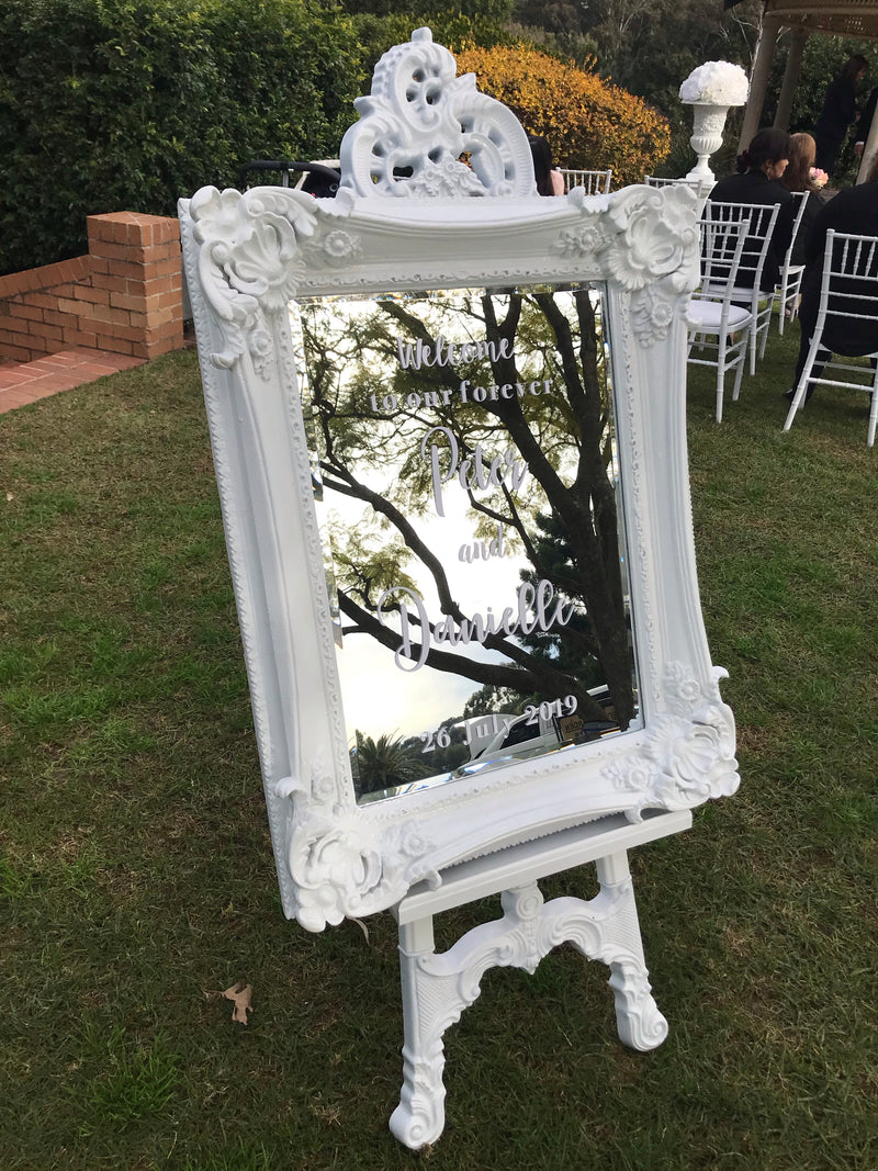 Ornate Mirror & Easel Stand Hire - Crystal Doll Bridal