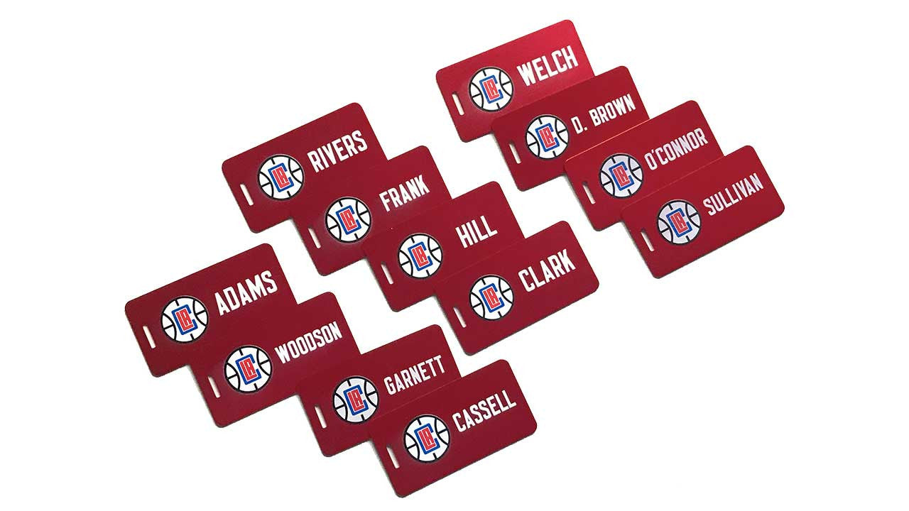 Custom Red Aluminum Bag Tags for the NBA LA Clippers Basketball Team