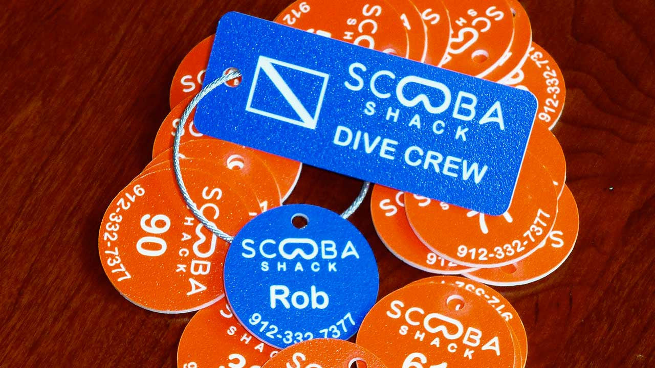 Scuba Tags for Dive Shop Rental Equipment