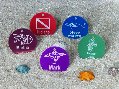 custom engraved aluminum scuba id tags
