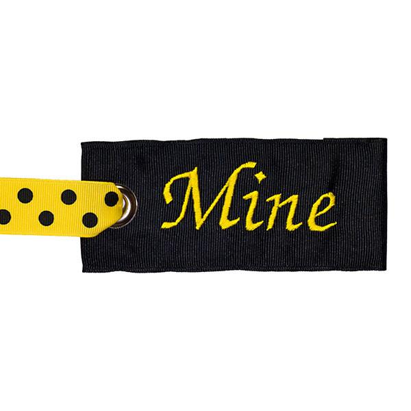 Personalized black fabric luggage tag - yellow letters