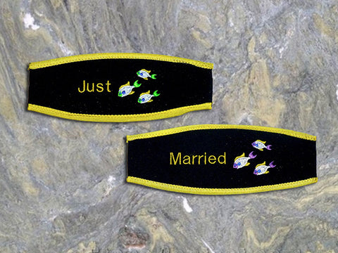 Custom Scuba Mask Strap Cover - Just Married from YourBagTag.com