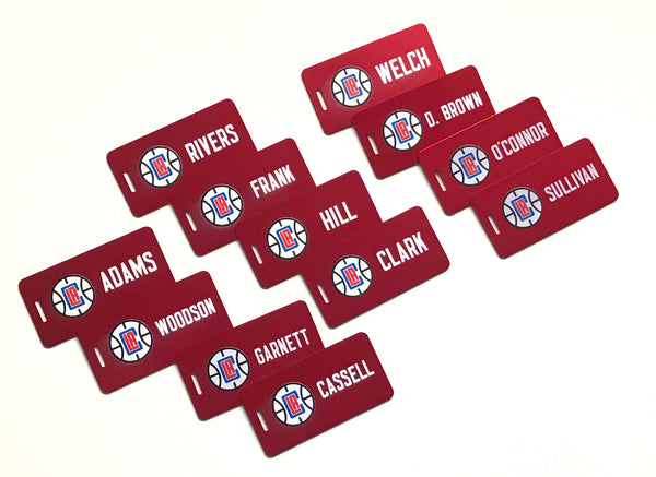 Red Aluminum Luggage Tags w LA Clipper Logo