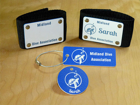 Custom scuba name equipment ID tags Midland Dive Association