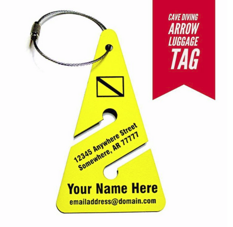 scuba cave diving arrow bag tag from yourbagtag