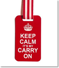 Red Luggage Tag engraved with Keep Calm Its My Carry On