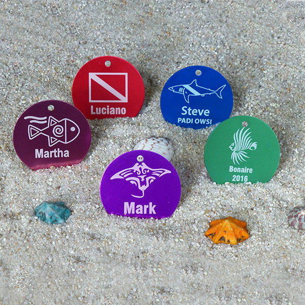 2 inch round aluminum scuba ID tags in 5 colors