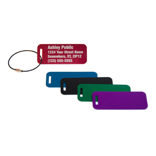Metal Luggage Tag Laser Engraved Red Blue Black Green Purple