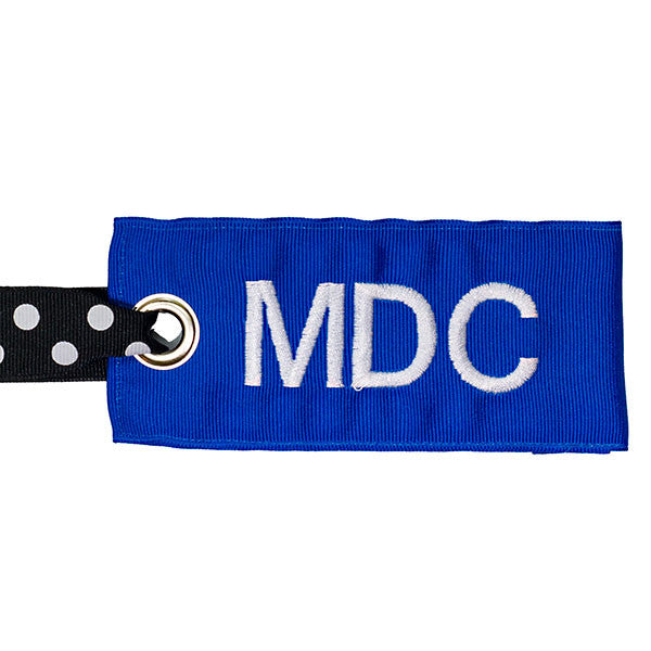 Blue Personalized bag tag with black-white dot handle