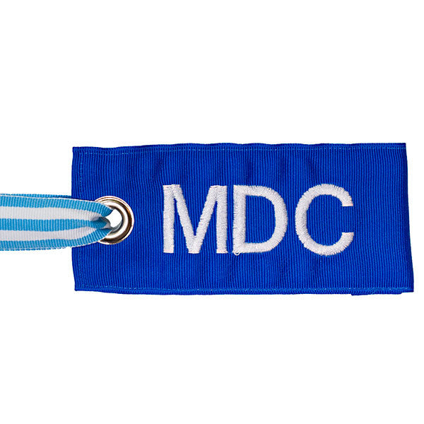 Blue Personalized bag tag with light blue-white attachment
