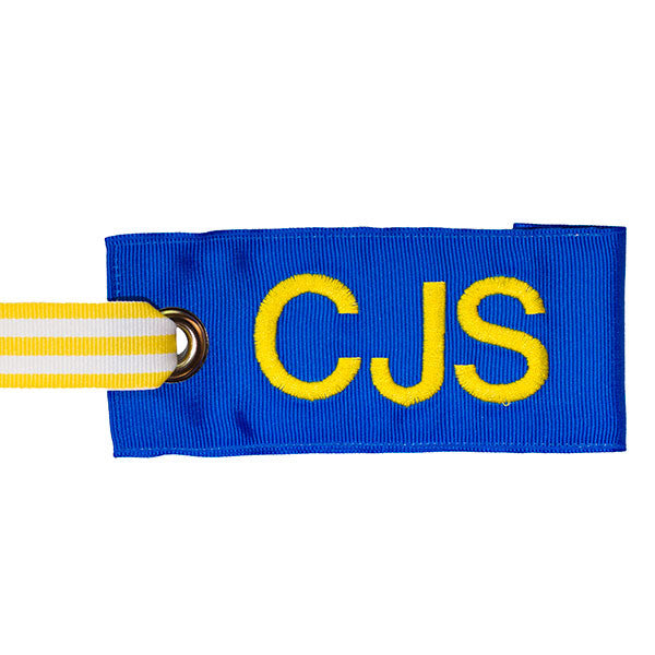 Blue Personalized bag tag with yellow-white stripe handle