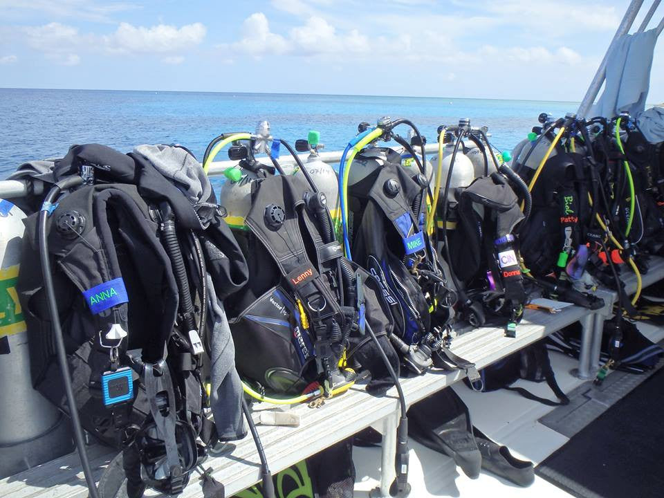 Custom Scuba BCD Name Tags on Dive Boat