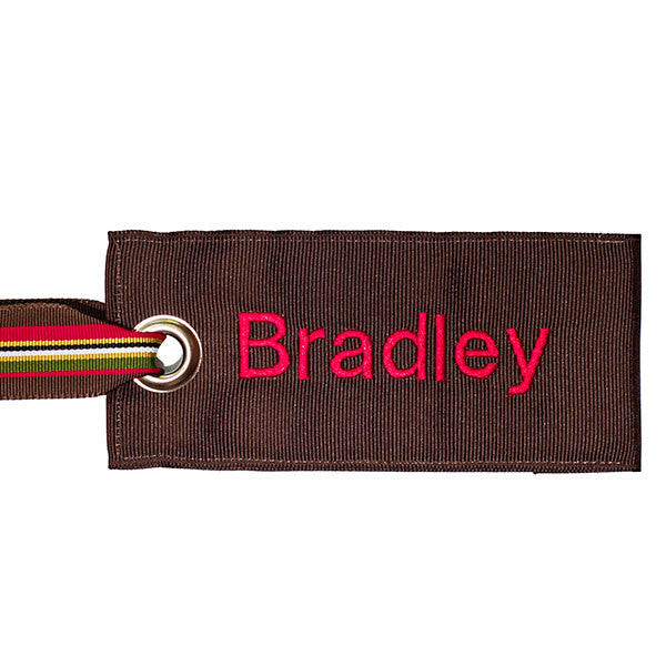 Brown Luggage Tag with Personalized Lettering YourBagTag