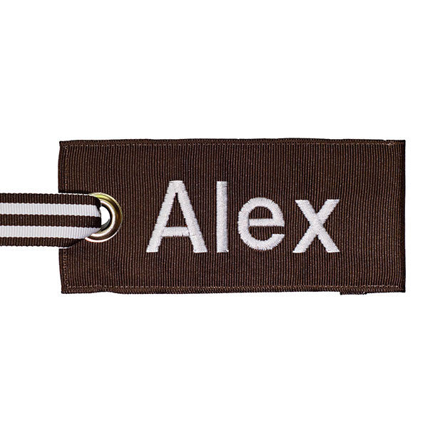 Brown Custom Luggage Tag White Text YourBagTag