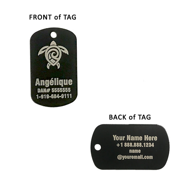 Black Dog Tag Scuba ID Front - Back Description of text layout