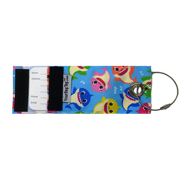Fabric Luggage Tag - bright blue - shark characters