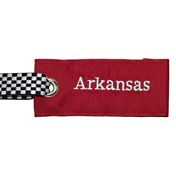 University of Arkansas luggage tag - college red