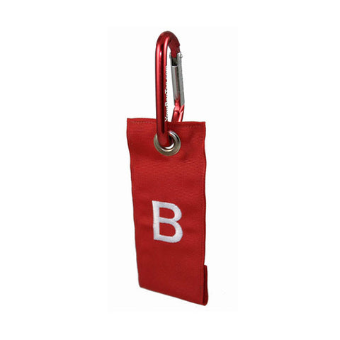 Red Luggage Tag with carabiner attachment YourBagTag