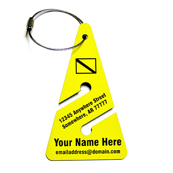 Yellow Luggage Tag in Scuba Cave Diving Arrow Shape