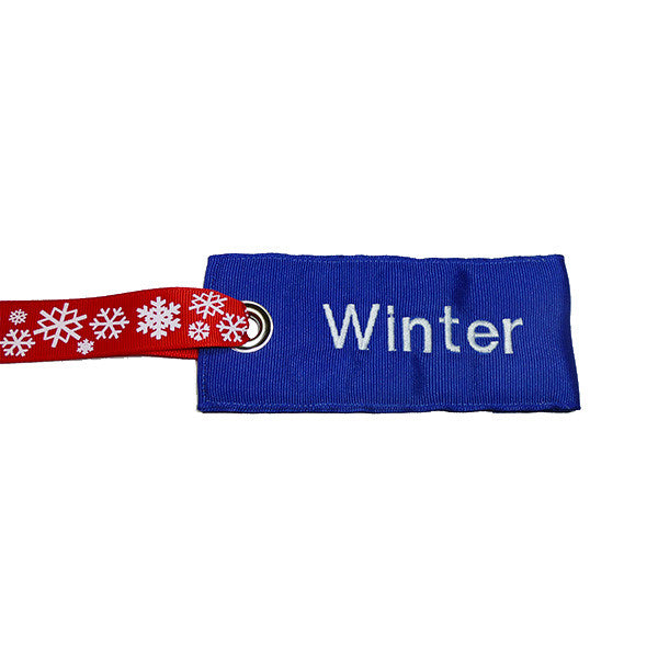 Blue-White Fabric Luggage Tag with Snowflake Handle