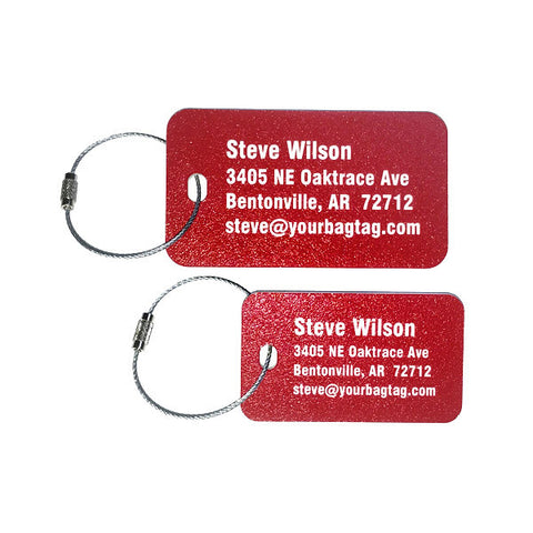 Red plastic luggage tags 1/8 inch thick - personalized