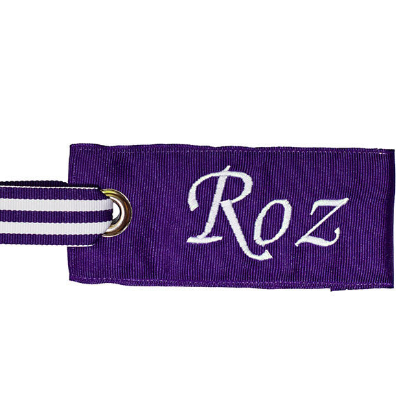 Dark Purple - White Stripe Bag Tag with Script Lettering
