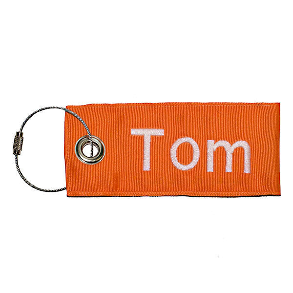 Orange Luggage Tag Custom Text Stainless Steel Loop