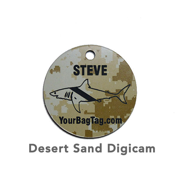 Desert Sand Digicam Scuba Equipment Tag Shark Graphic