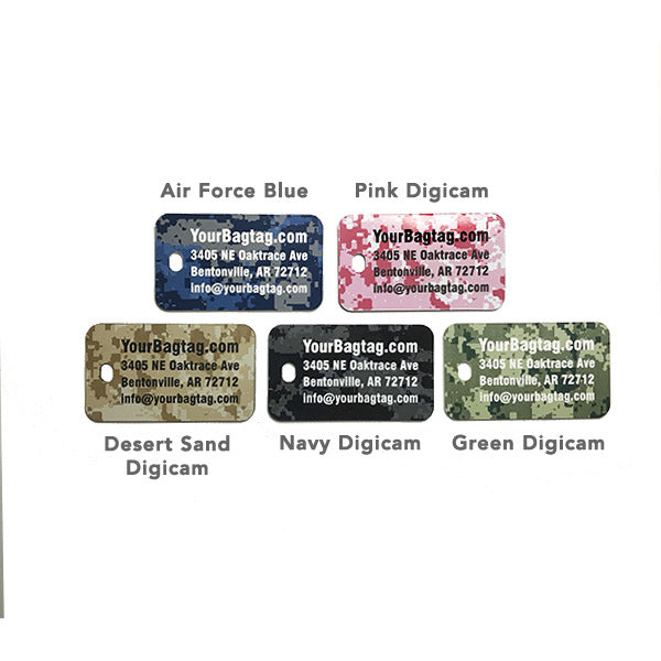 carry on luggage tag with camouflage print laser engraved