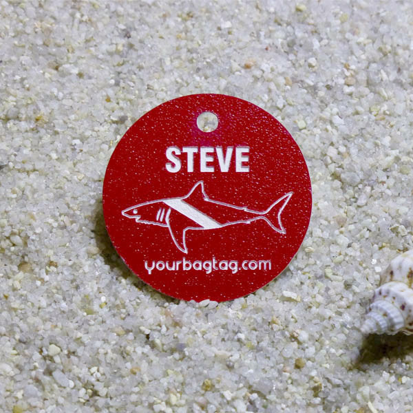 Red Scuba Equipment Name ID Tag