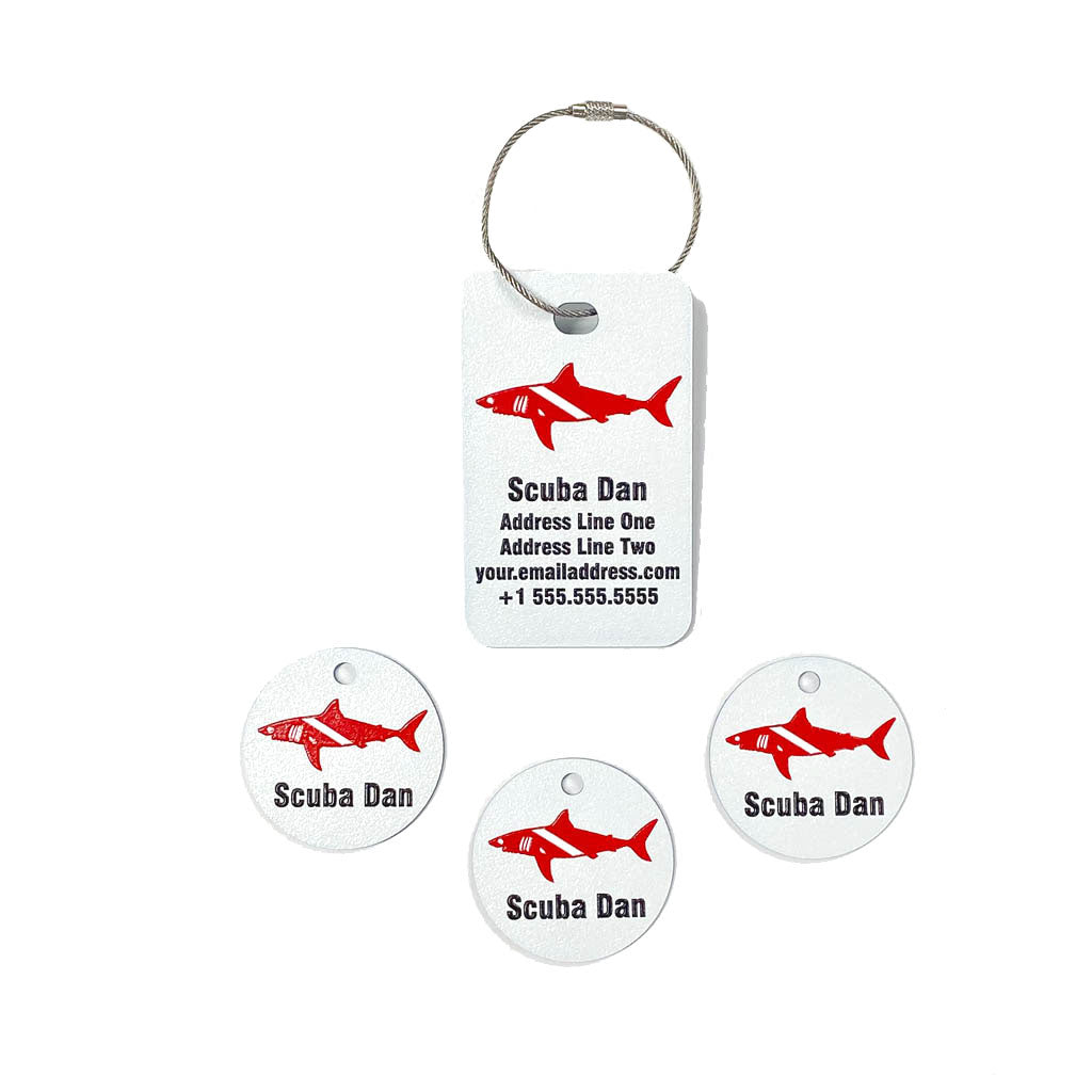 Full color scuba equipment tag combo pack dive shark graphic