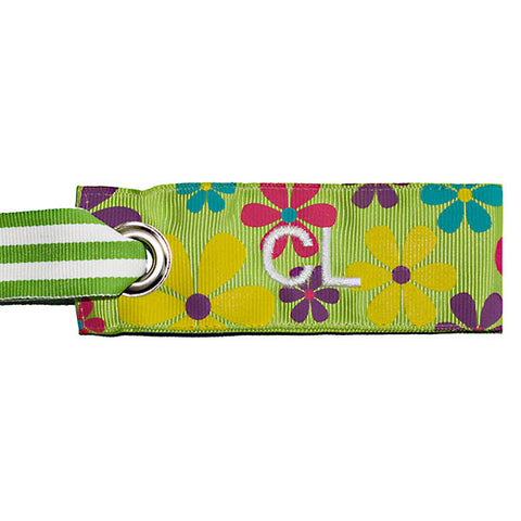 Mini luggage tag flower print custom white text