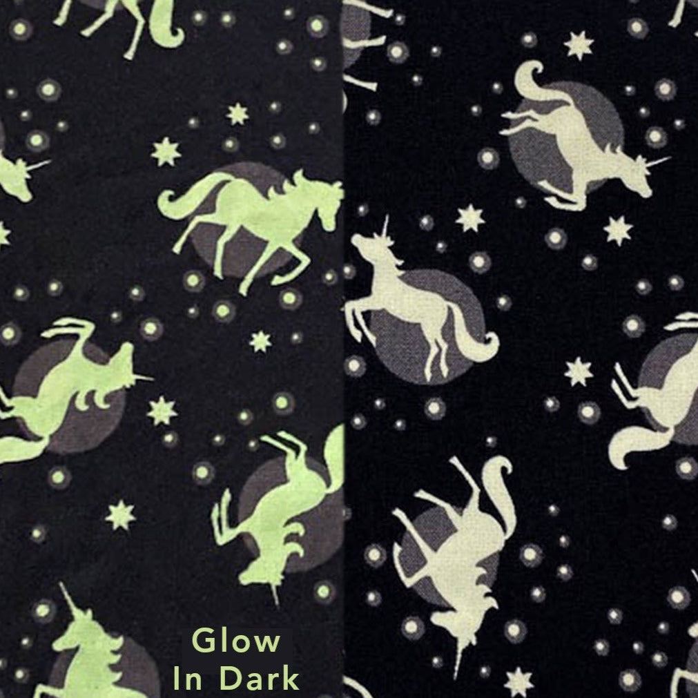 glow in dark unicorn fabric for face mask