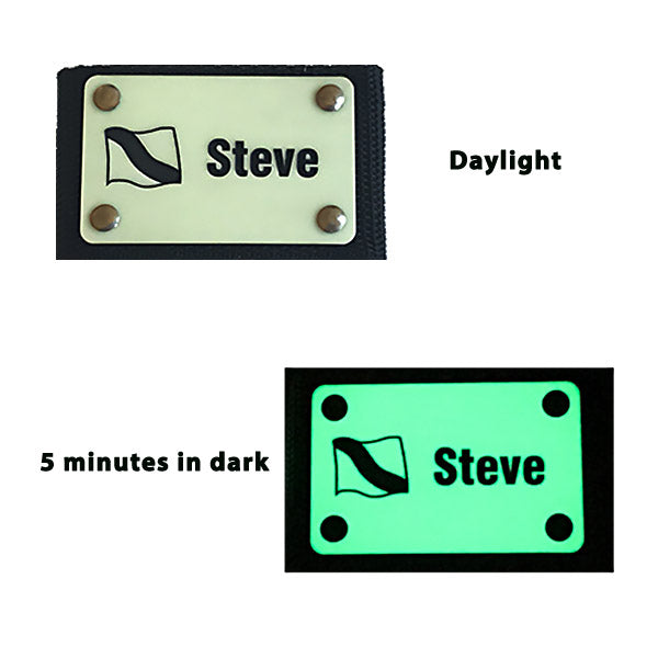 Glow in the dark Scuba BCD tag showing daylight - in dark