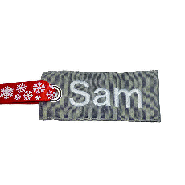 Silver-White Fabric Luggage Tag with Snowflake Handle