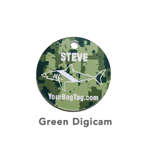 Green Digicam Scuba Equipment Tag Shark Graphic YourBagTag